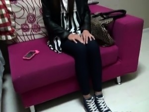 Amateur Chinese babe teases a cock with her hands and feet
